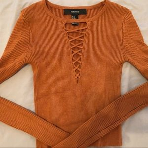 Burnt Orange Long Sleeve Cropped Ribbed Top